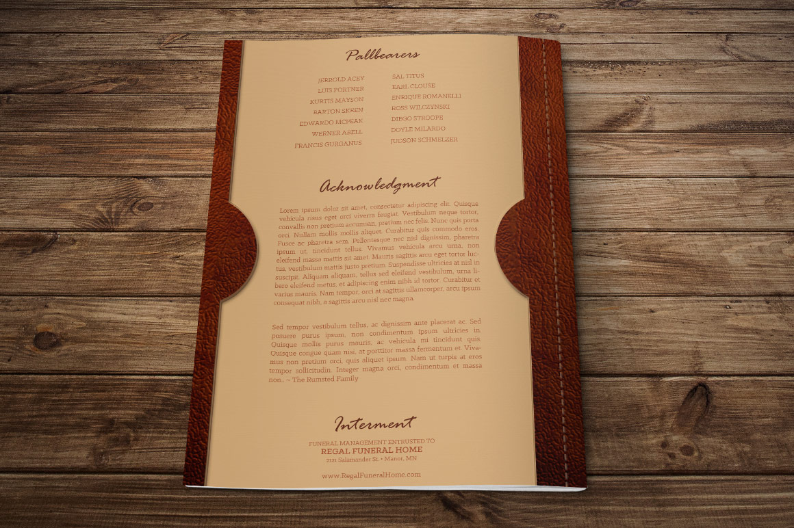 Leather Funeral Program Publisher Template - 8 PAGES example image 2