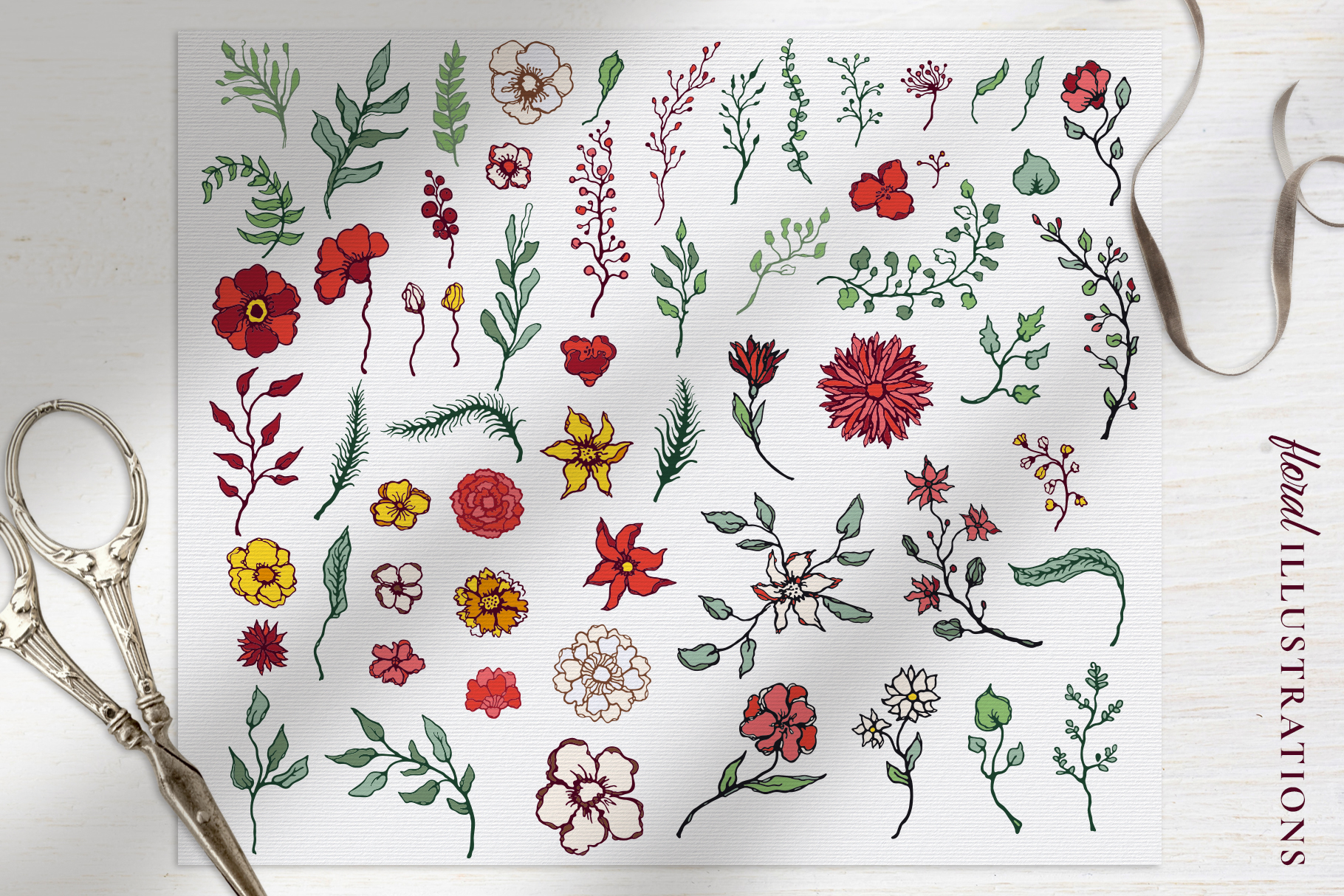 Winter Floral Patterns & Illustrations example image 4