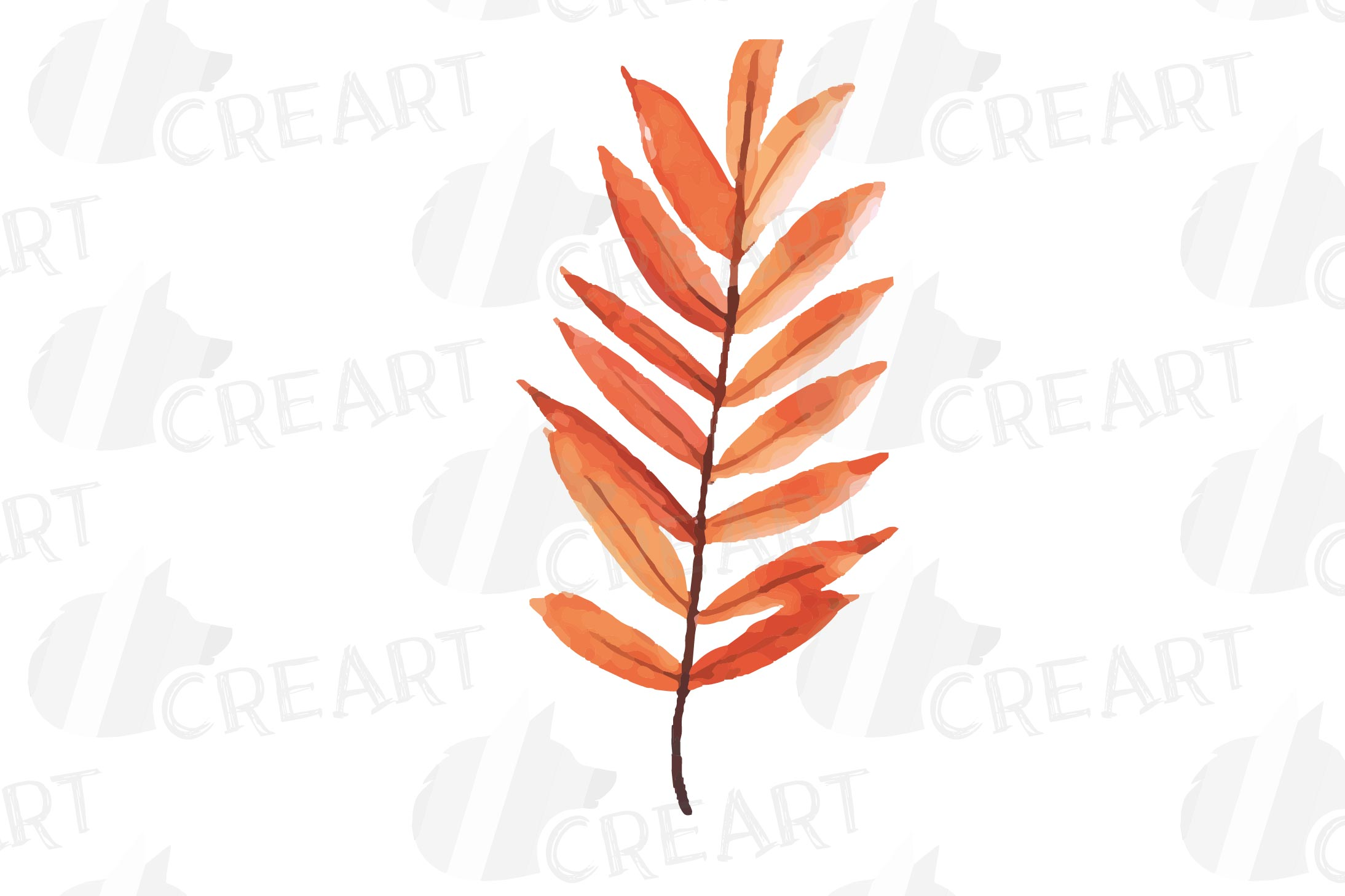 Printable autumn leaves watercolor decoration clip art pack. example image 5
