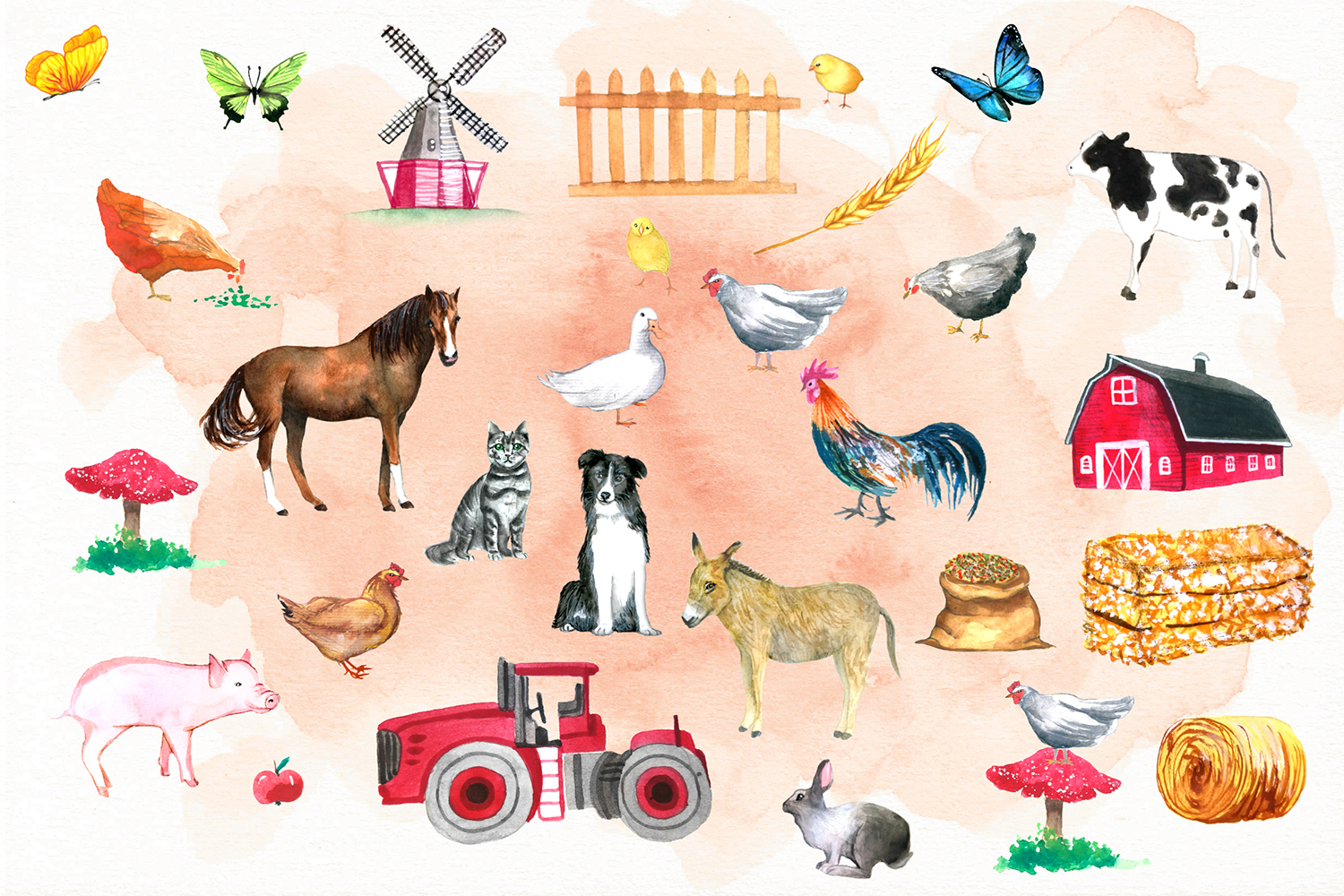 Watercolor FARM Clipart example image 3