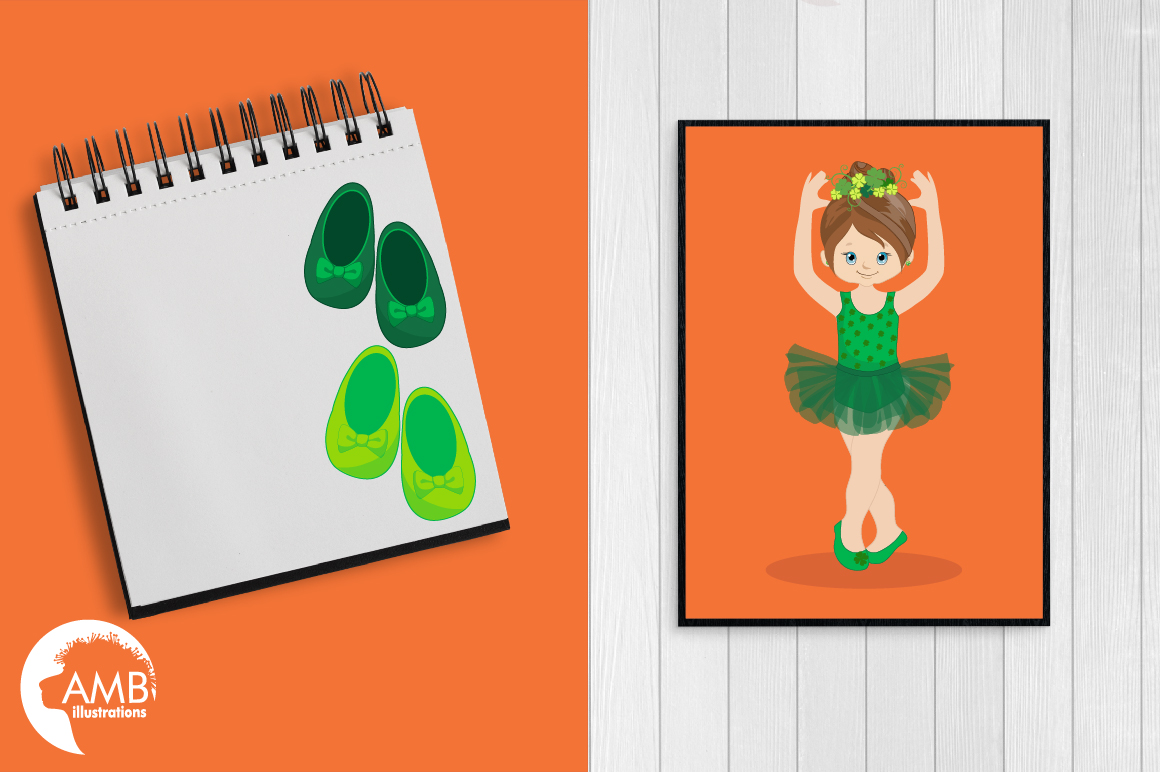 Irish dancers, Ballerina clipart, Ballet dancers in green, graphics and illustrations AMB-1588 example image 5