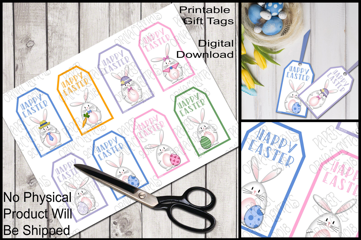 Printable Easter Gift Tags, White Bunnies example image 1
