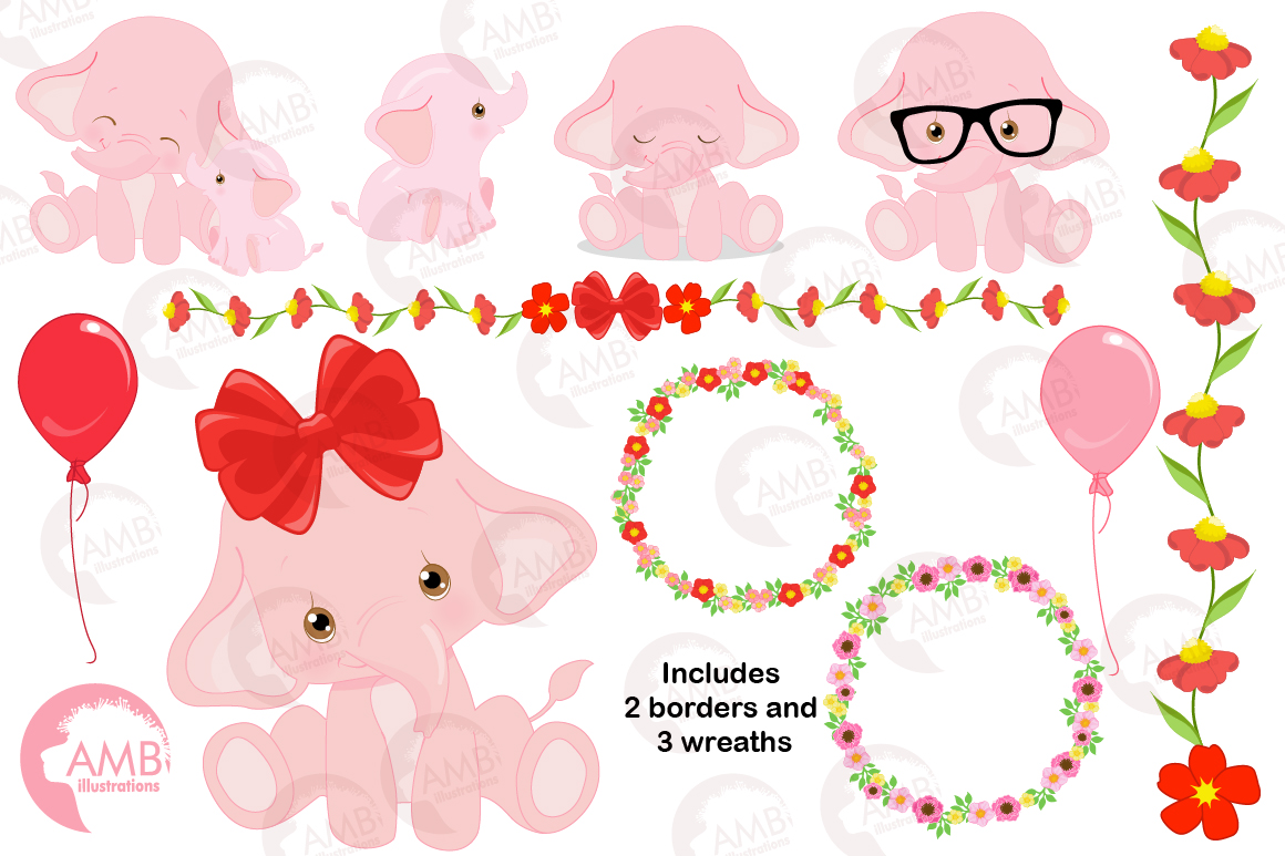 ELEPHANT babies in pink! BUNDLE! 53 cliparts, graphics and illustrations and Patterns AMB-2276 example image 10
