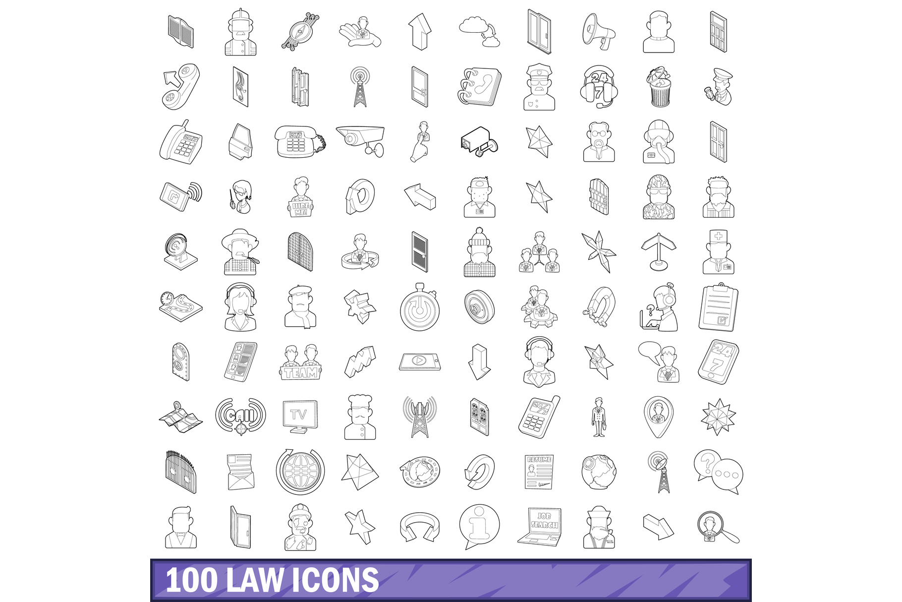 100 law icons set, outline style example image 1