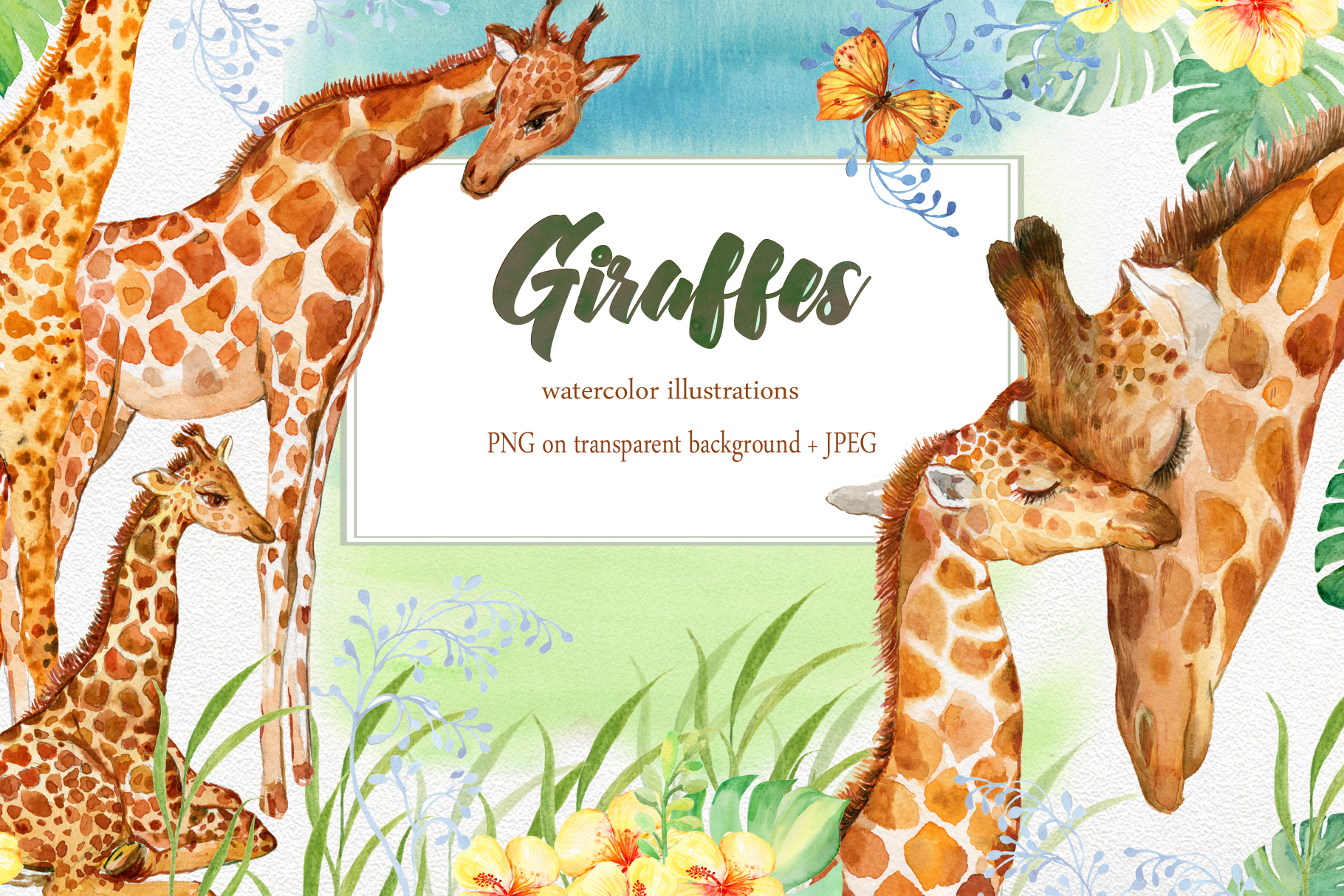 Giraffes. watercolor illustrations example image 1
