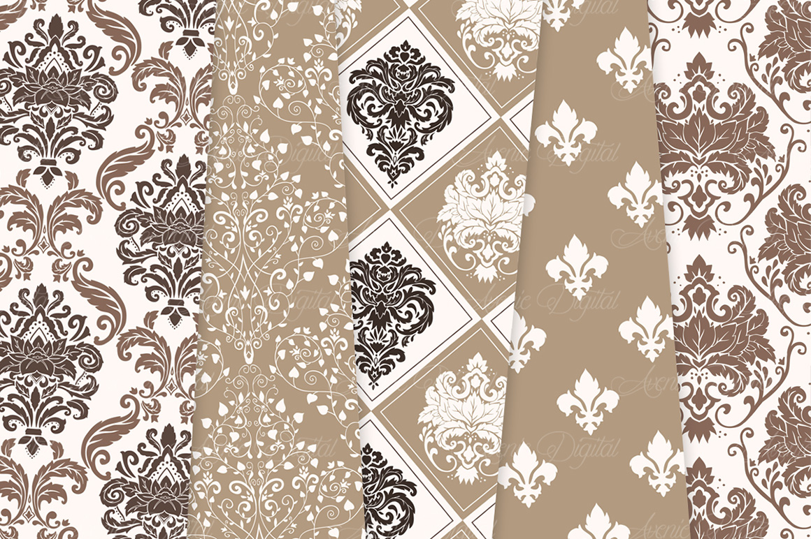 Brown Damask Patterns - Seamless Digital Papers example image 4