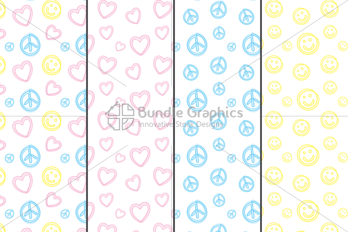 Freehand Style Love, Peace, Balance Pattern Set example image 1
