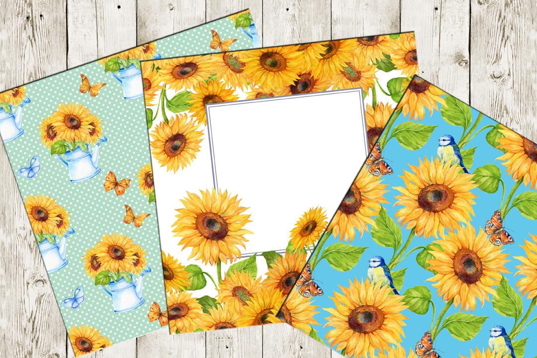 Watercolor digital Paper,Sunflower Pattern , Sunflower Background, Floral Digital Paper,  Sunflower Paper Watercolor paper example image 3