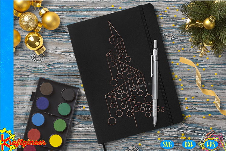 Single Line Xmas Tree SVG   Single Line SVG  Foil Quill example image 3