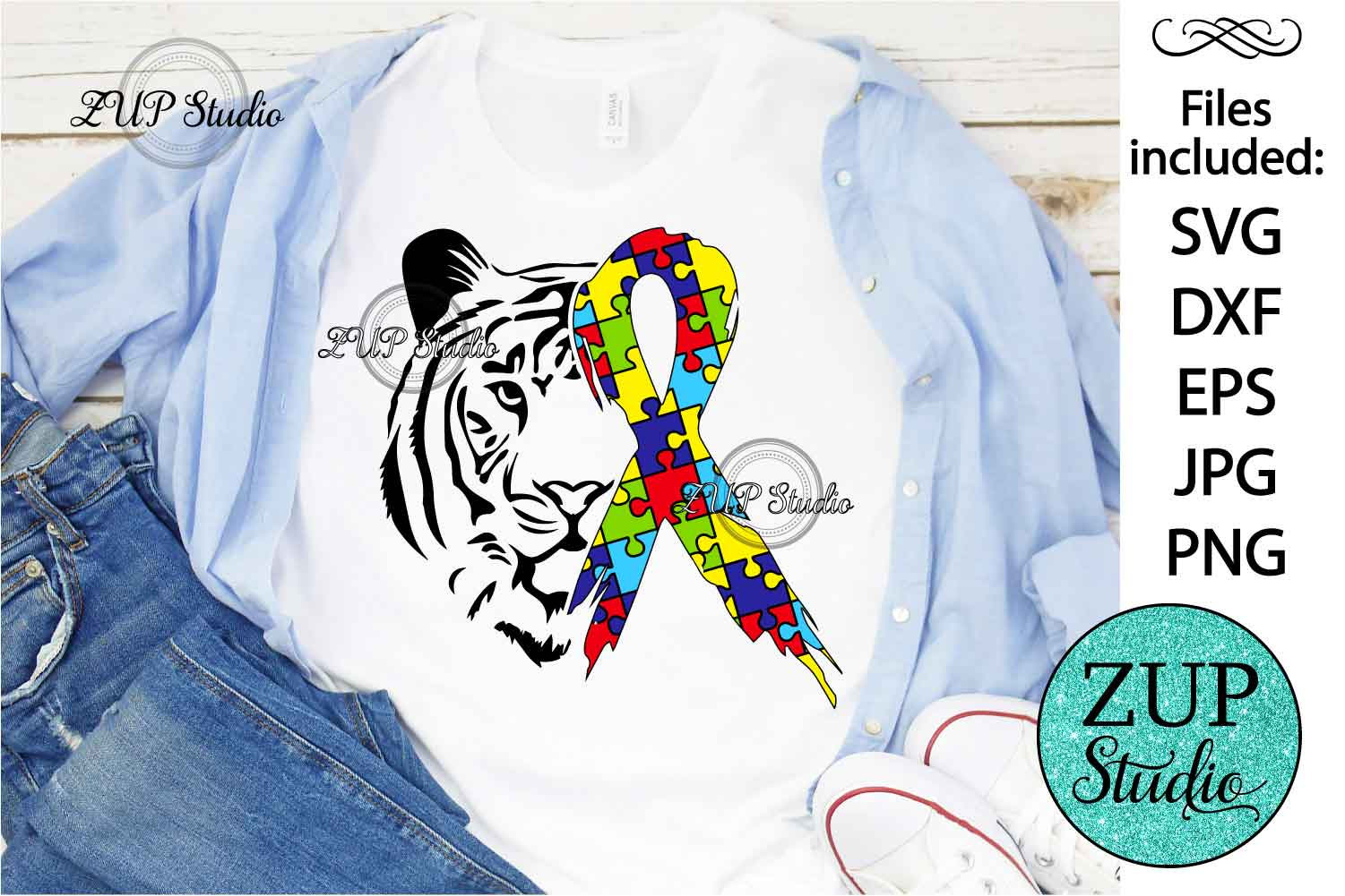 Tiger with Autism Ribbon svg design 462 example image 1