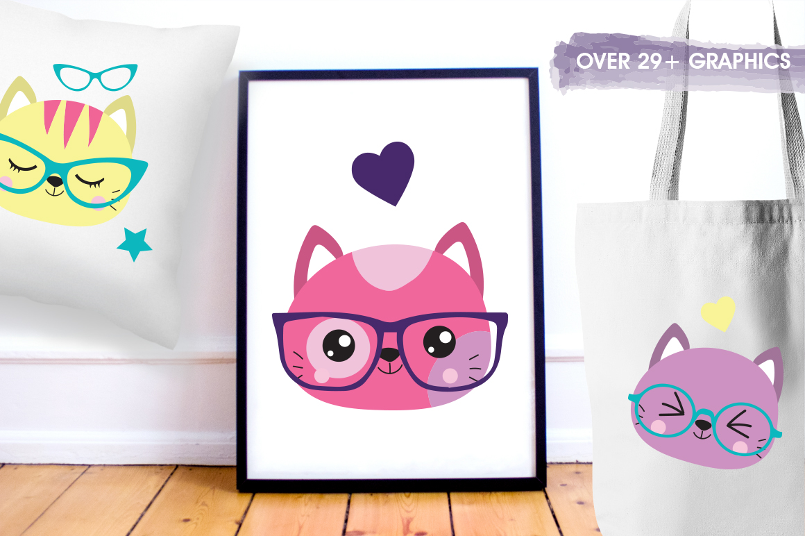 Hipster Cat graphic and illustrations example image 4