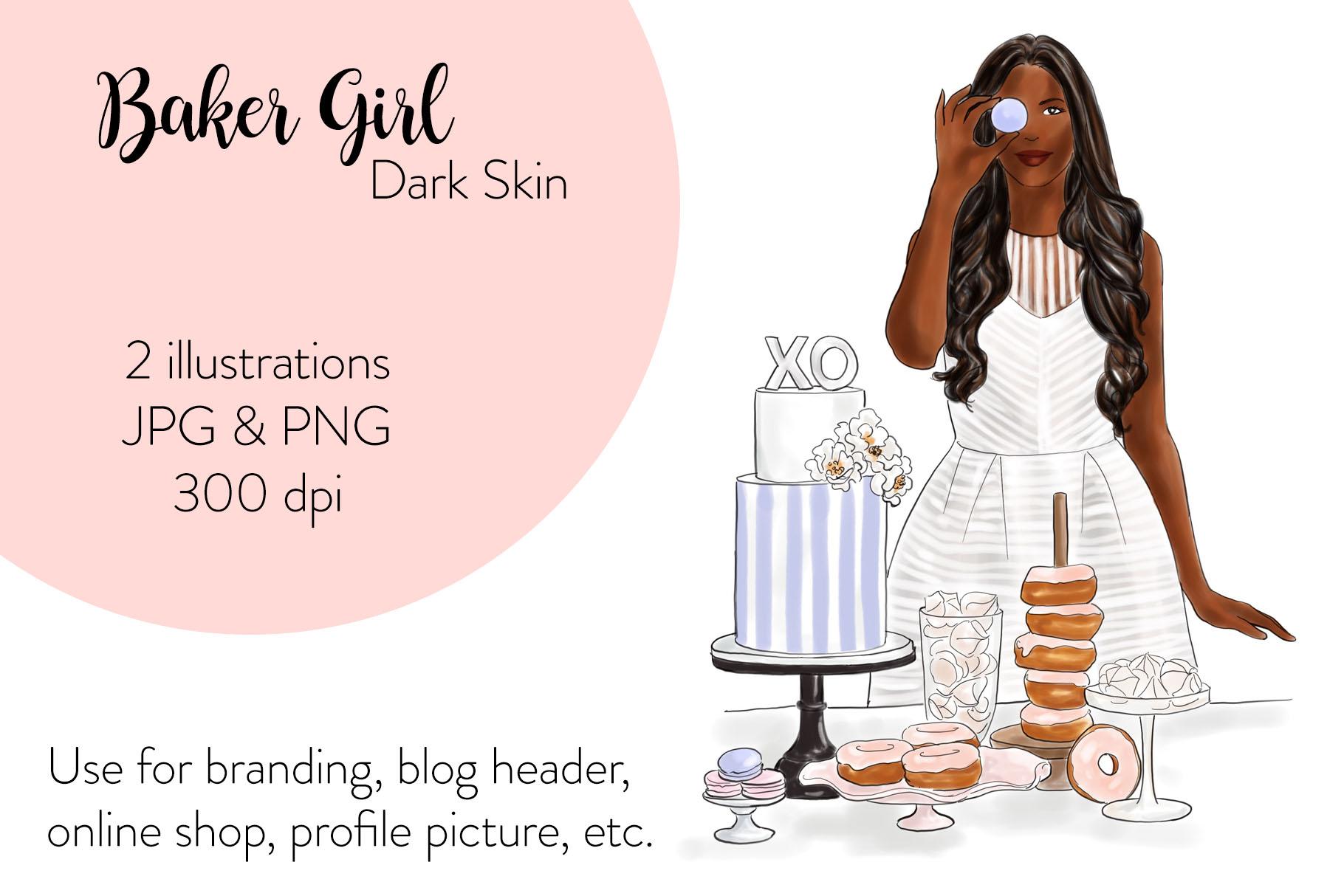 Fashion illustration - Baker Girl - Dark Skin example image 1