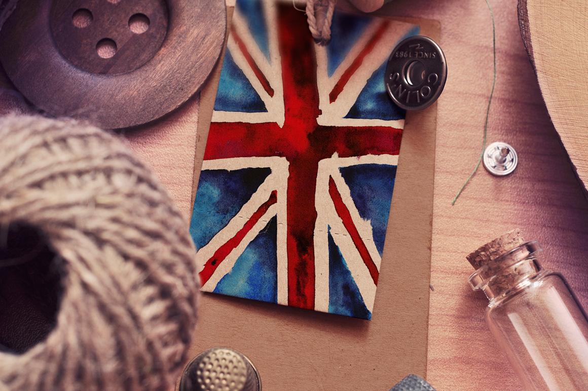 Old British. Watercolor britain flag. United Kingdom. example image 2