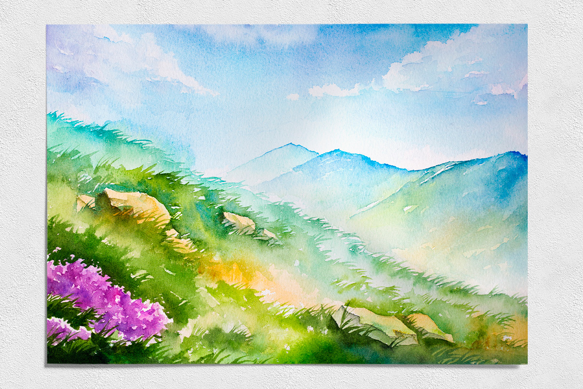 Spring Landscapes. Watercolor. example image 7