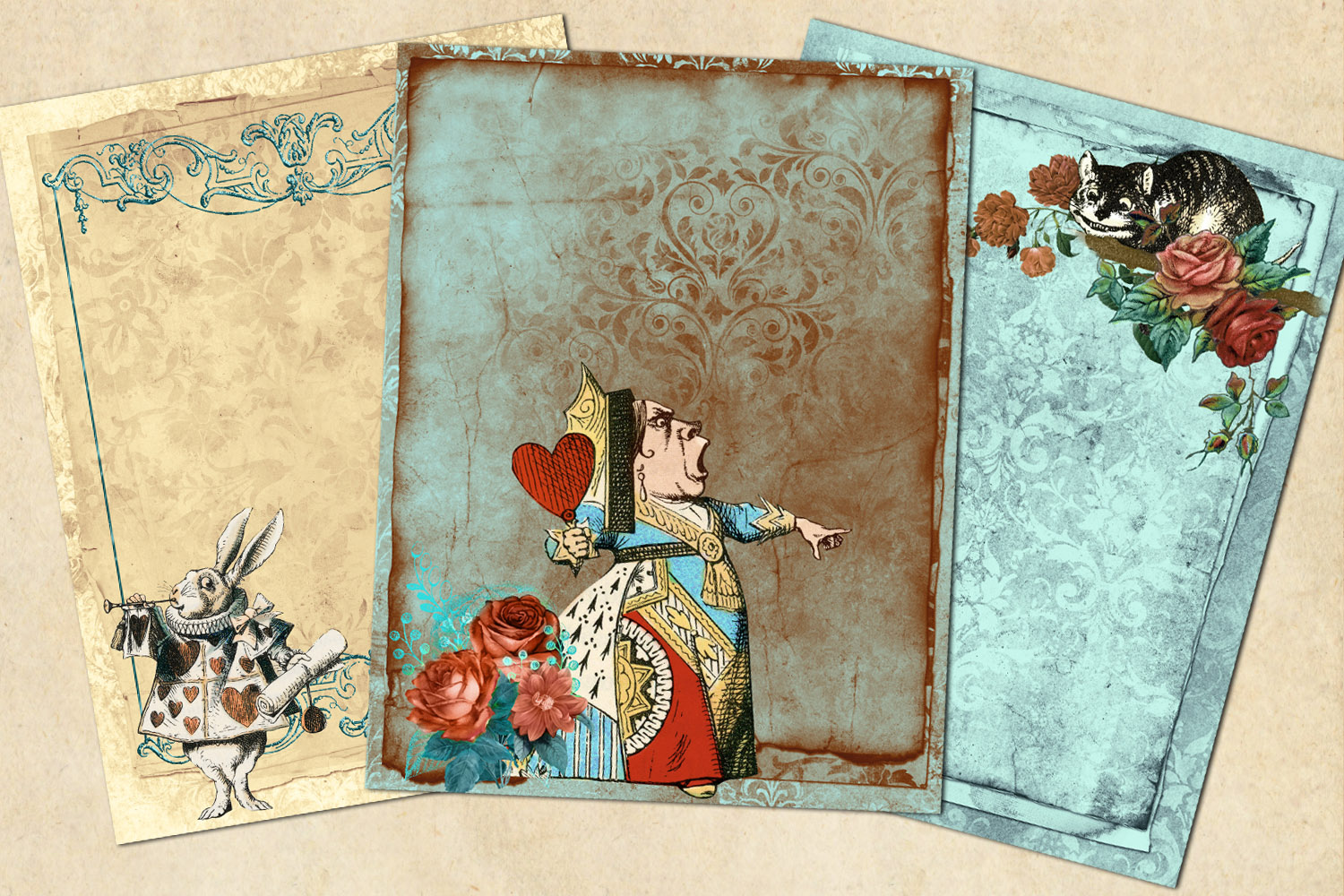 Whimsical Alice in Wonderland Journal Paper example image 2