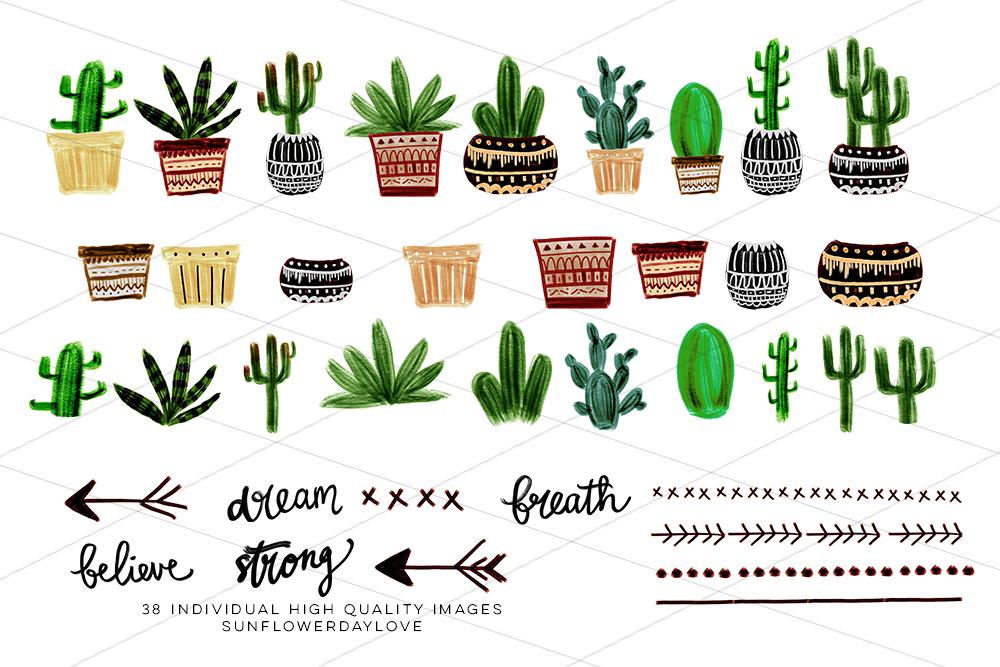Boho Cactus Clipart, Watercolor Boho Clipart example image 2