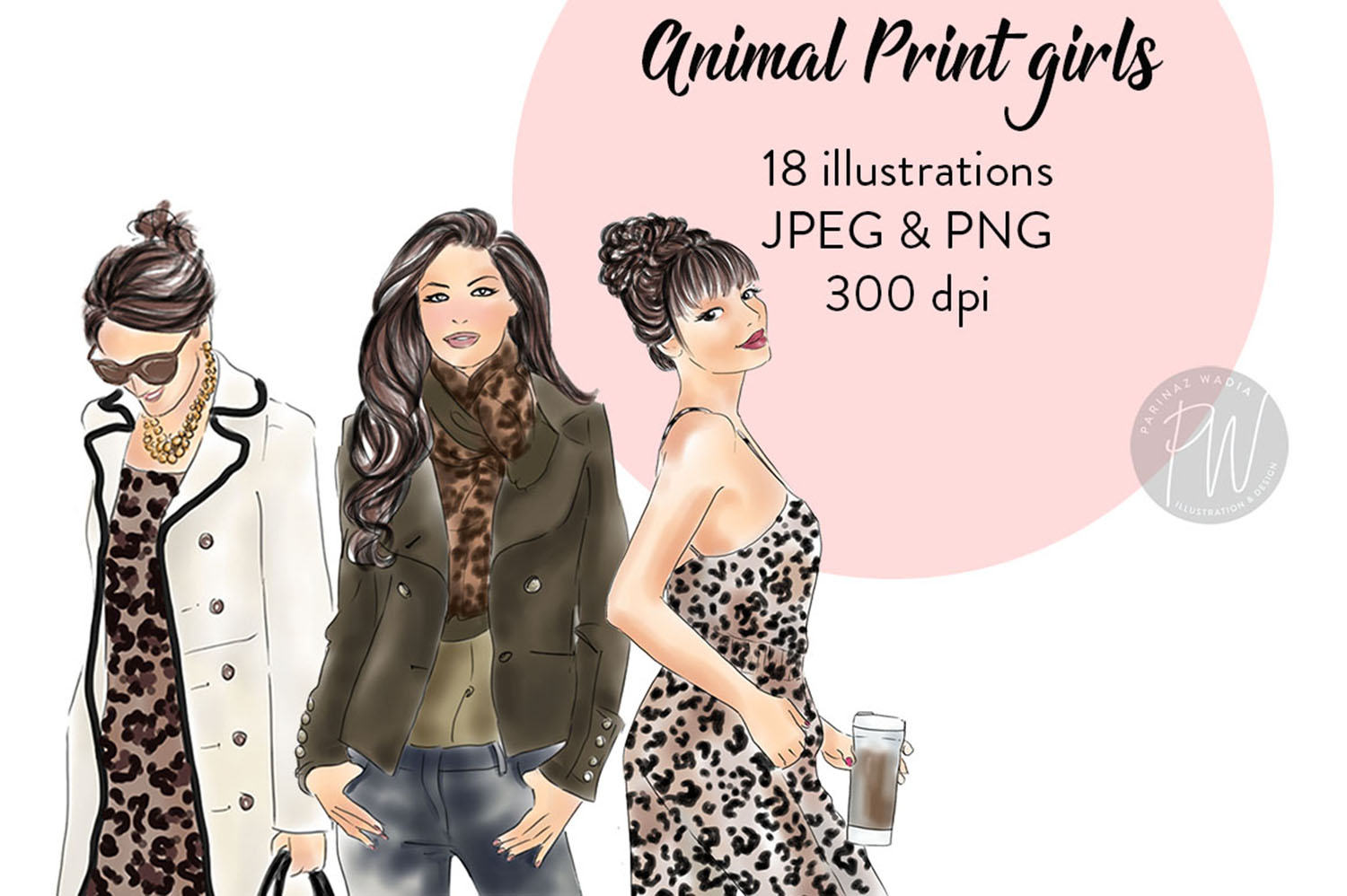 Animal print girls Watercolour fashion clipart example image 1
