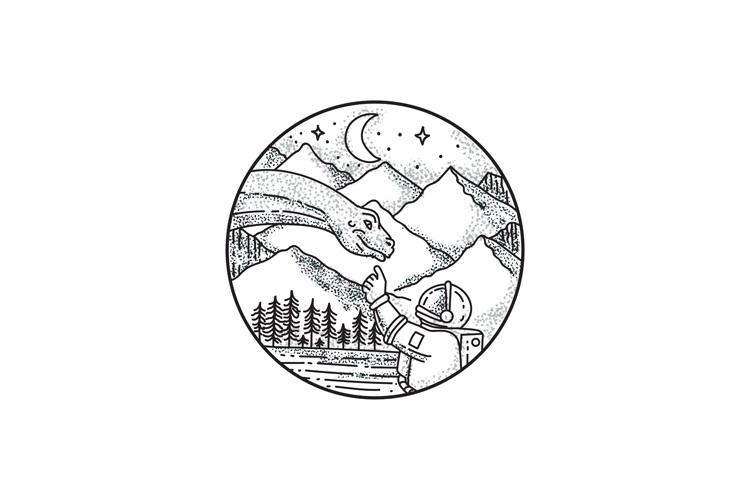 Brontosaurus Astronaut Mountain Circle Tattoo example image 1