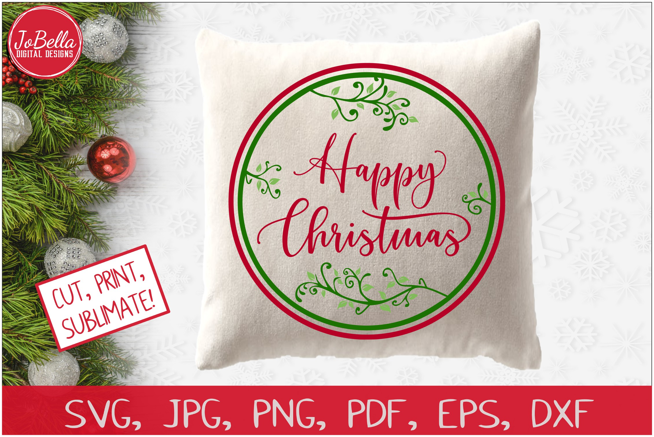 Happy Christmas SVG Printable & Sublimation PNG example image 2
