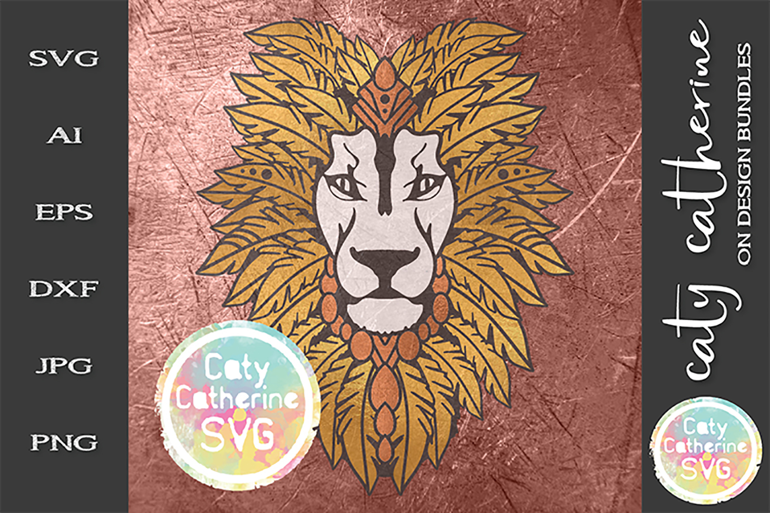 Feather Headdress Lion Head Boho SVG Cut File example image 2