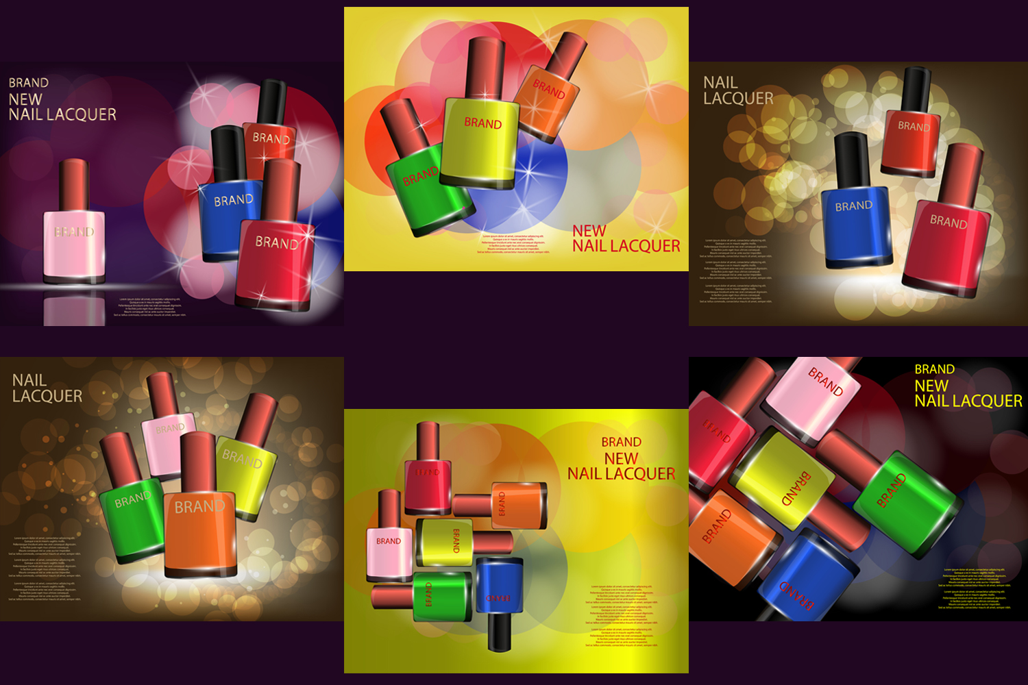 Colorful Nail Lacquer Glossy Bottles Realistic Vector Mock-up, template example image 1