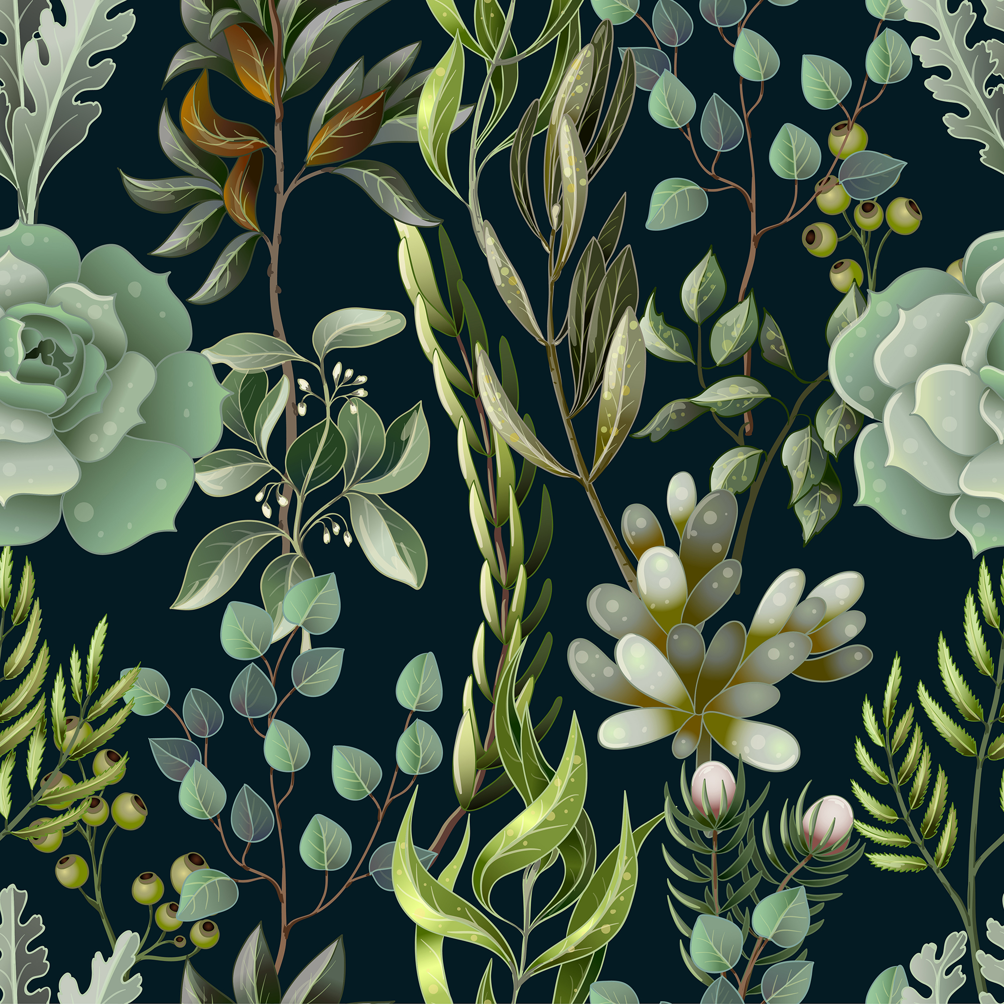 Wedding greenery invitation, patterns and isolated elements example image 4