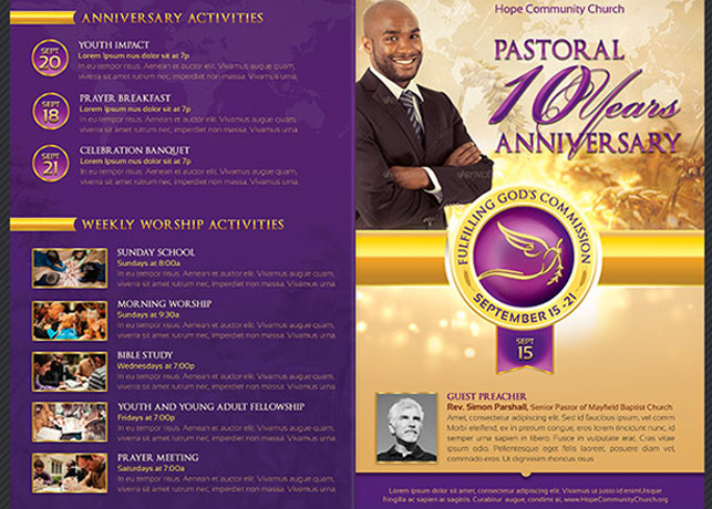 Clergy Anniversary Service Program Template example image 2