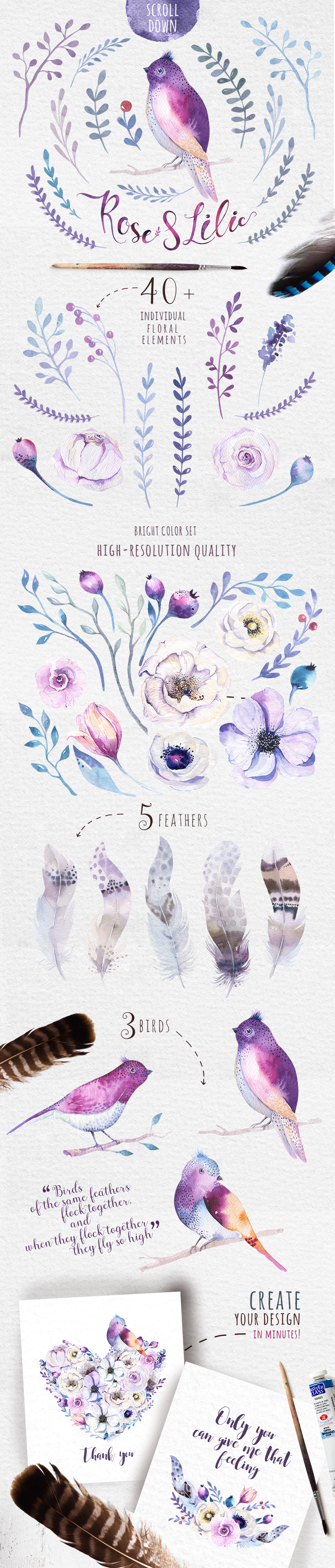 Watercolor floral set III example image 3
