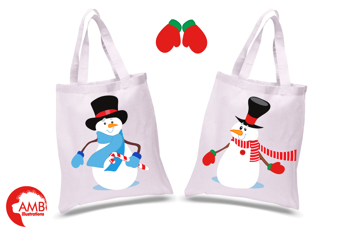 Snowmen in tophats clipart, graphics, illustrations AMB-502 example image 2