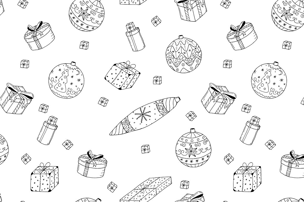 Christmas set in doodle style. example image 5