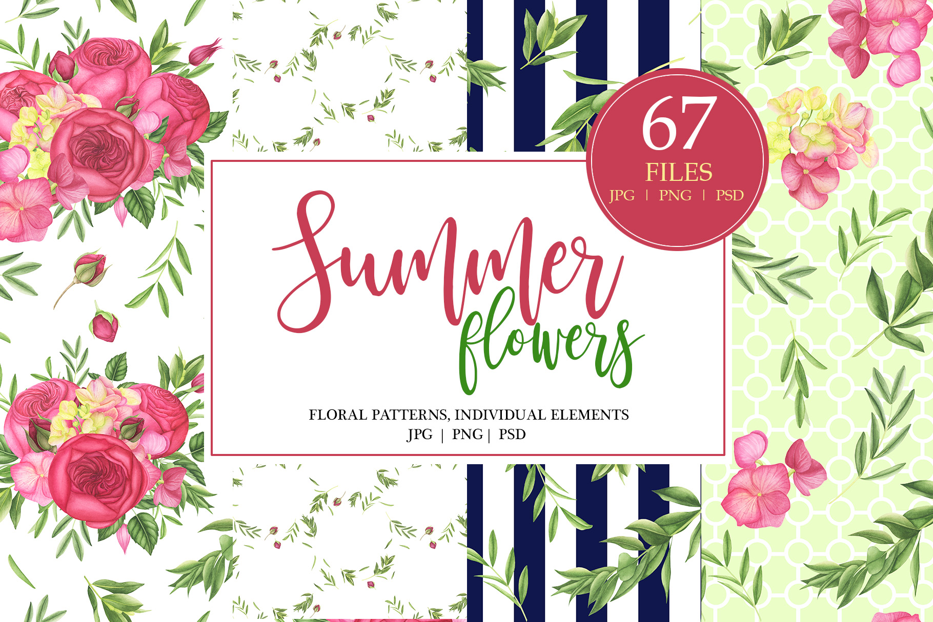 Watercolor Summer Flowers Patterns example image 1