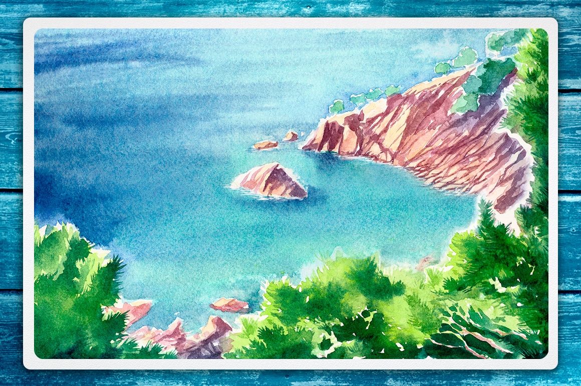 Seascapes. Watercolor illustrations. example image 7