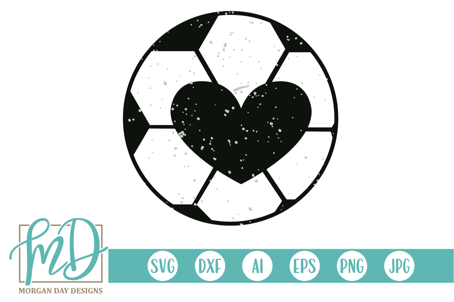 Grunge Soccer Ball Heart SVG, DXF, AI, EPS, PNG, JPEG example image 1