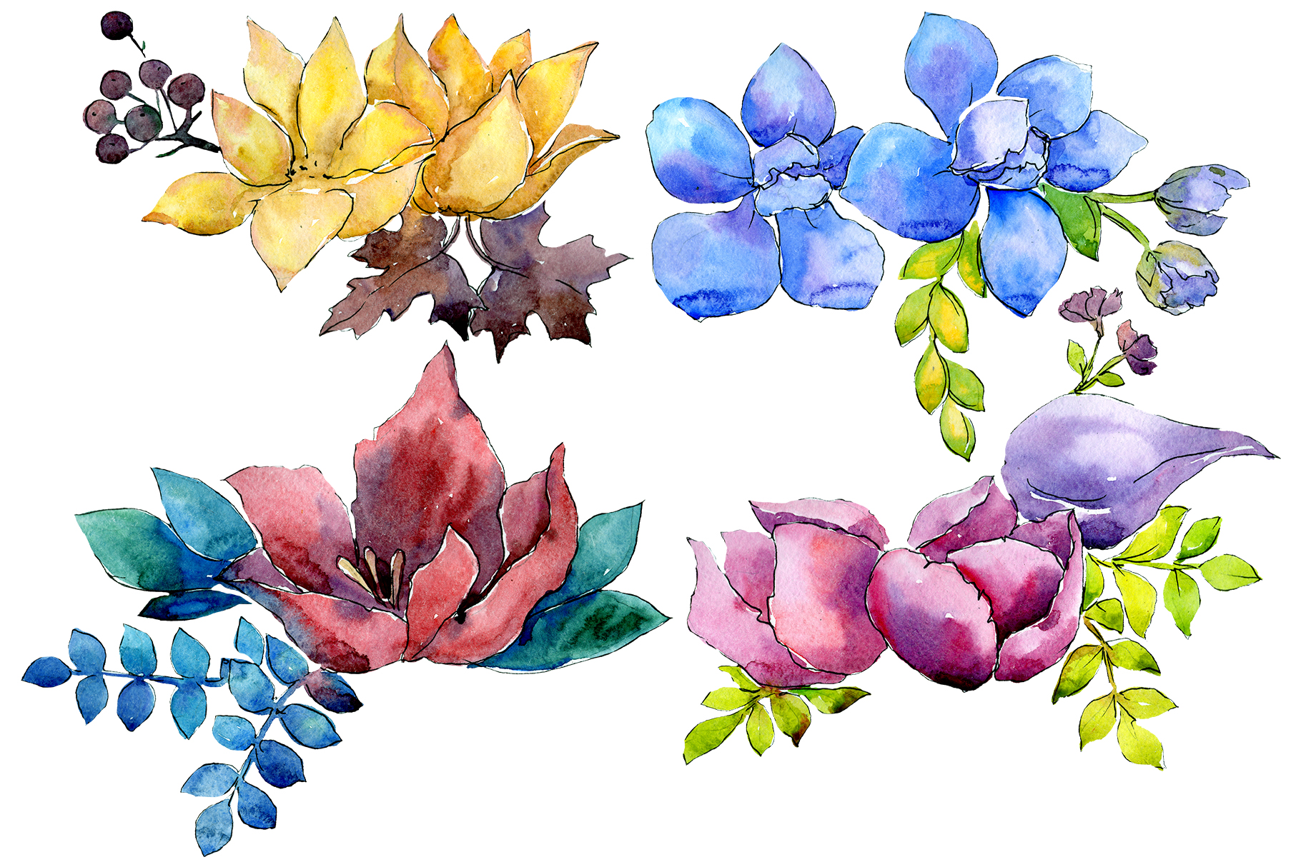 Flower composition PNG watercolor set example image 1