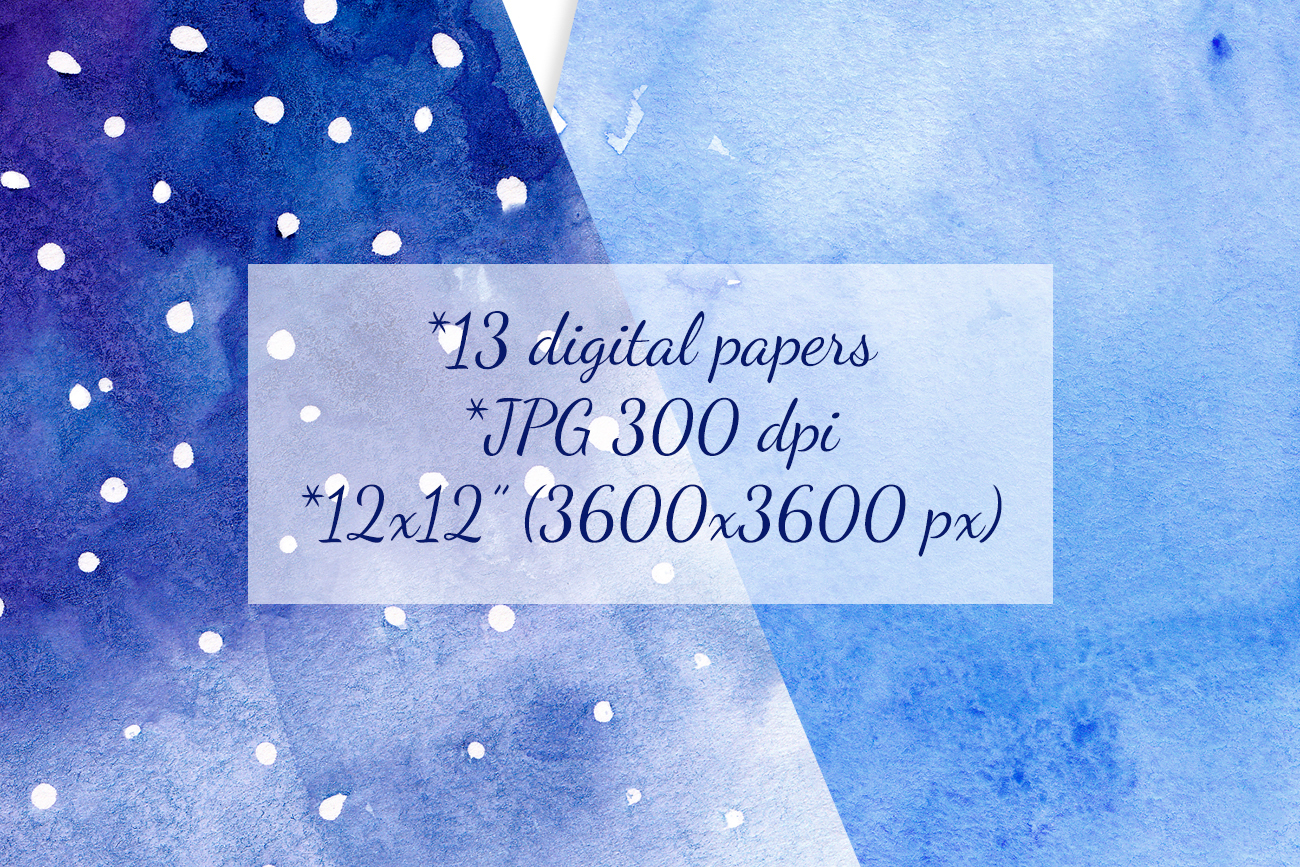 Blue watercolor backgrounds Winter digital paper example image 4