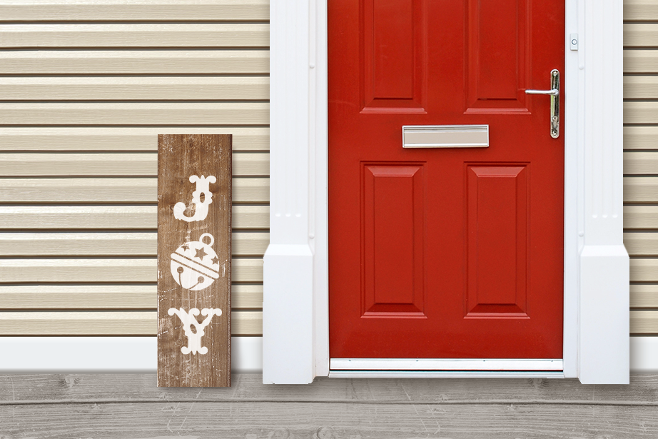 Joy with Bell Porch Sign Christmas SVG Design example image 1
