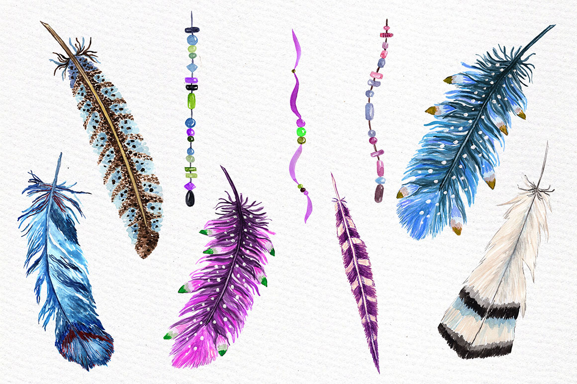 Watercolor feathers clipart example image 3