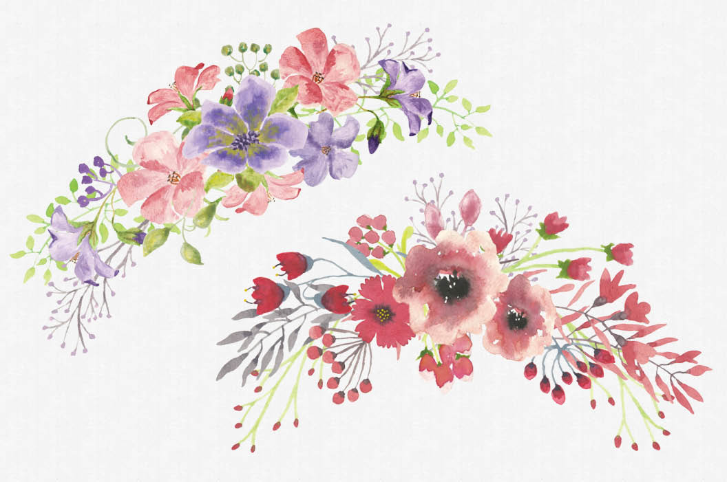 Set of mixed floral sprays: hand painted watercolors example image 2