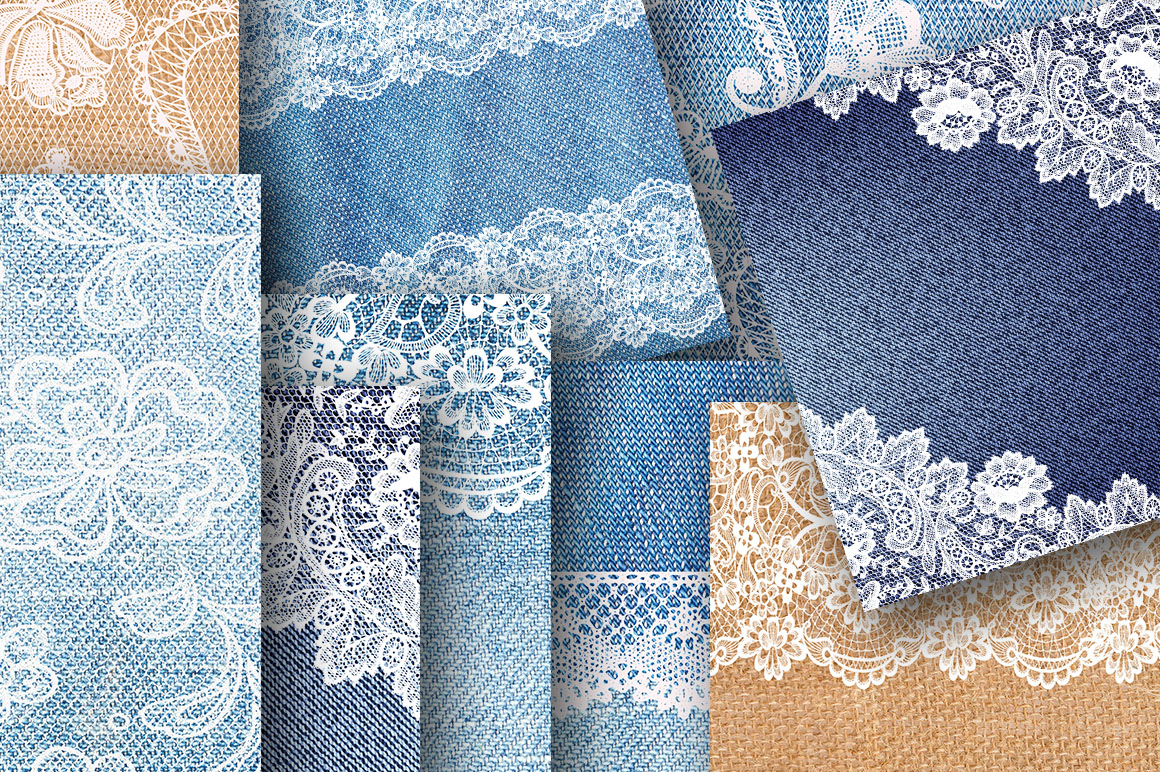 Denim and lace digital paper for scrapbooking example image 2