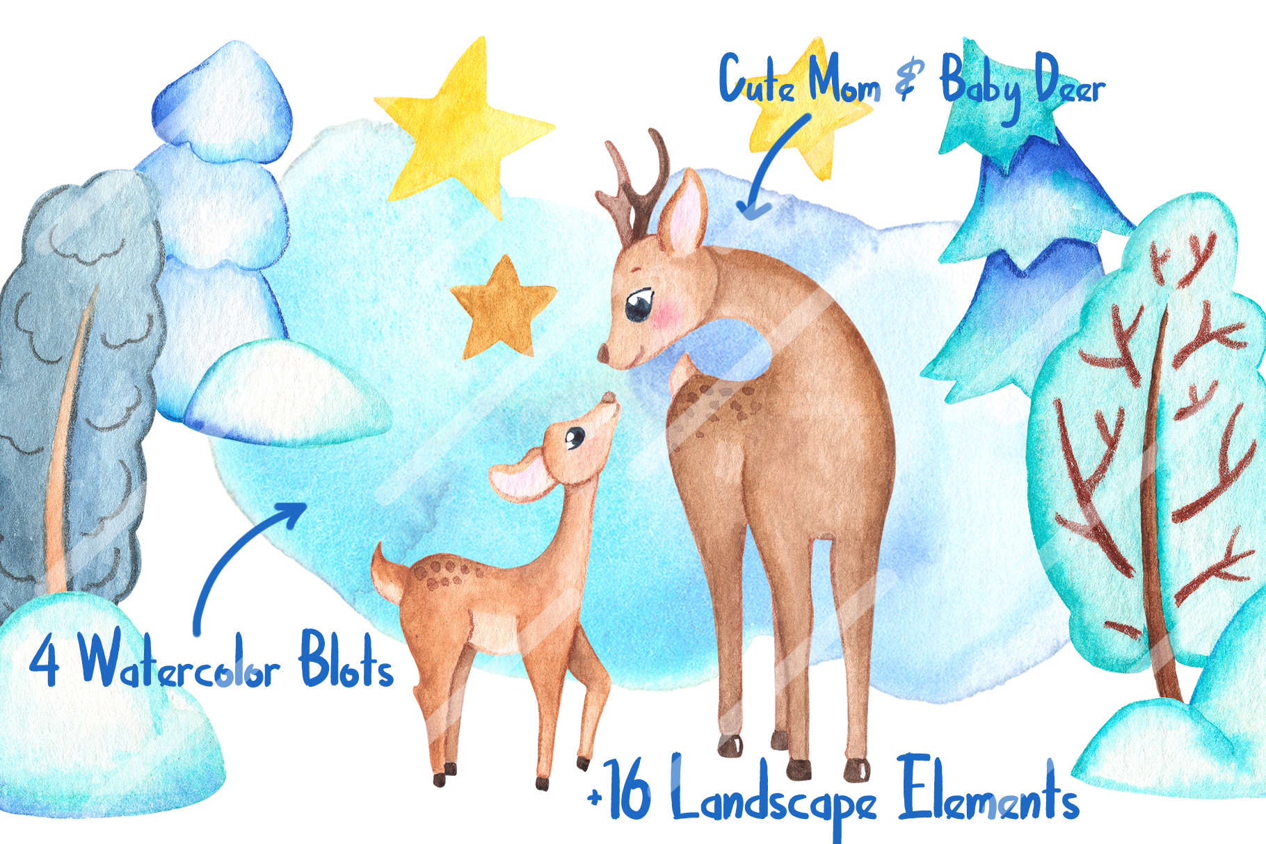 Watercolor Christmas Clipart And Seamless Patterns example image 2