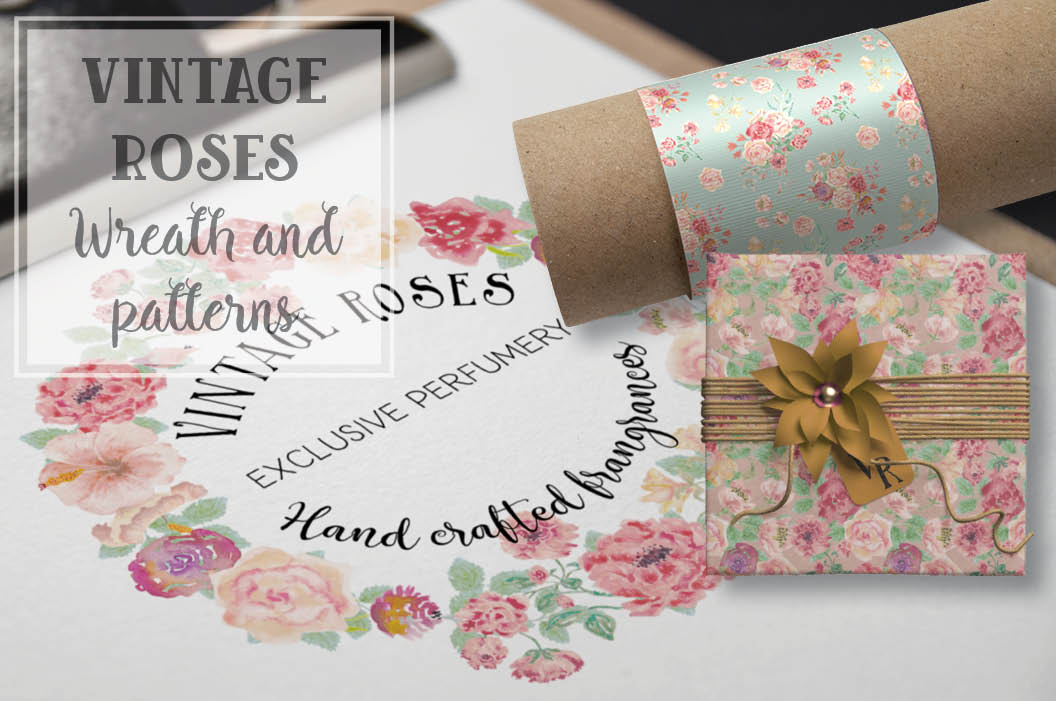 Watercolor wreath of vintage roses example image 1