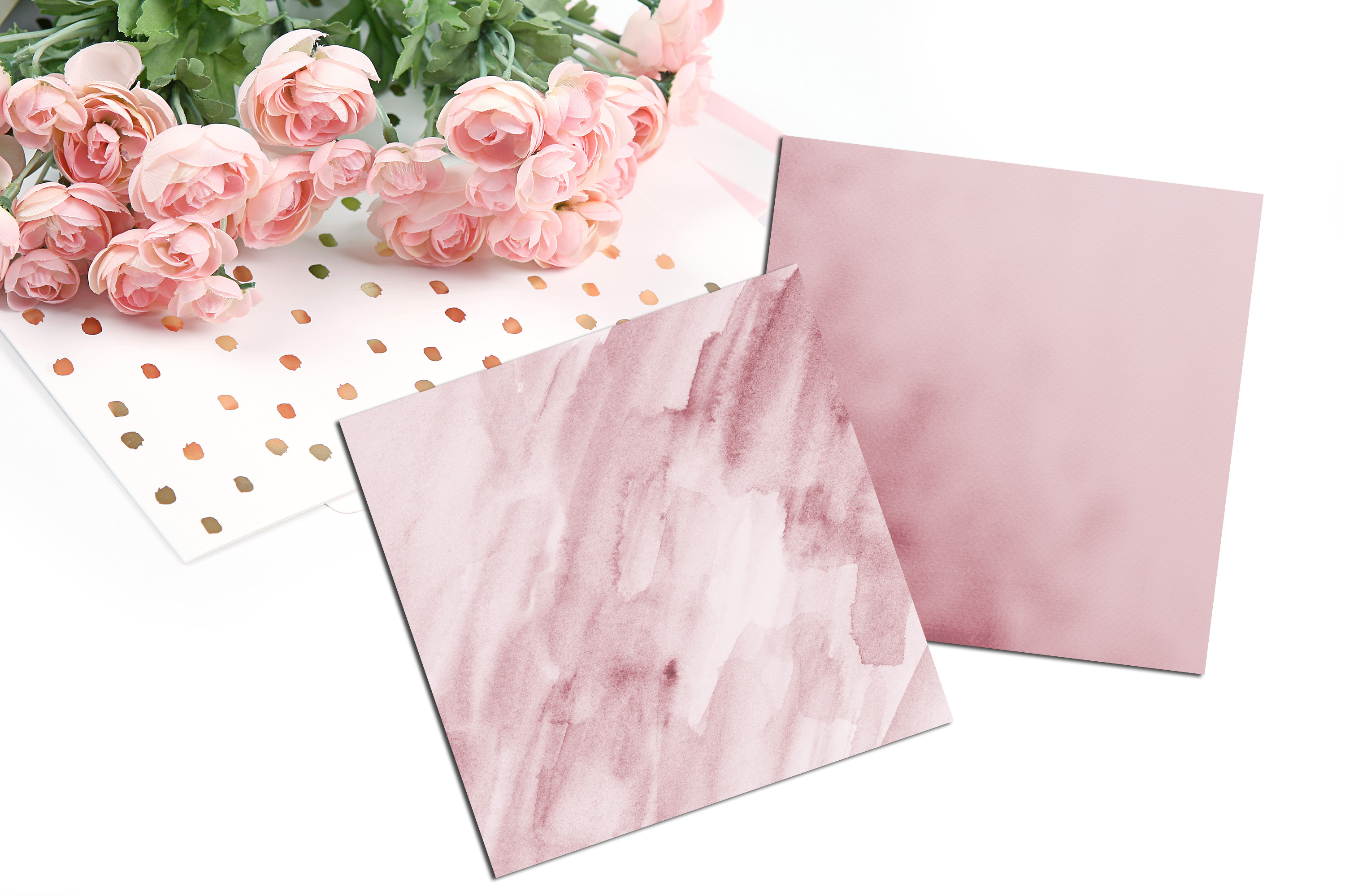 30 Ombre Rosegold Painted Brush Watercolor Digital Papers example image 7