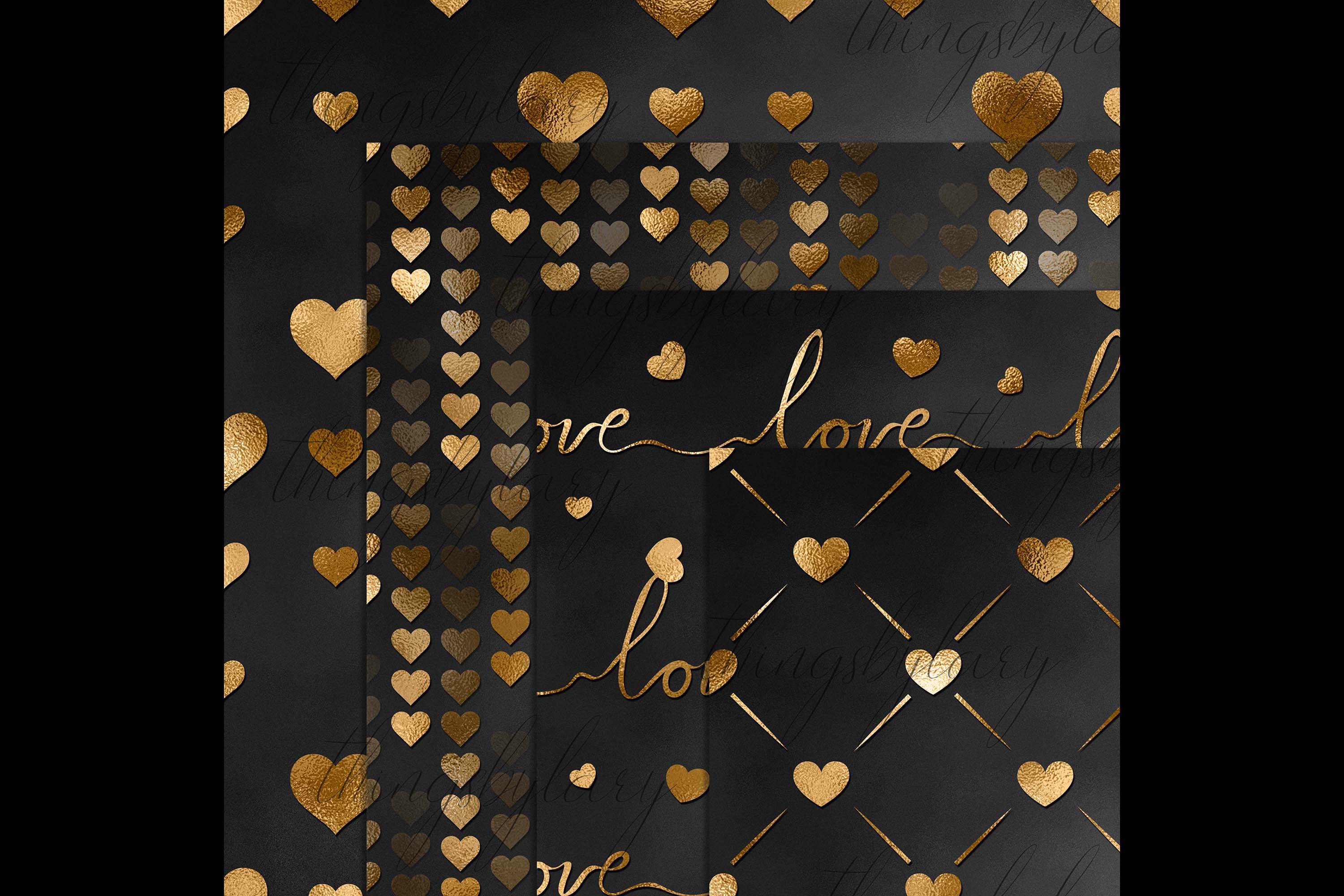 30 Black and Gold Valentine Love Heart Digital Papers Card example image 9
