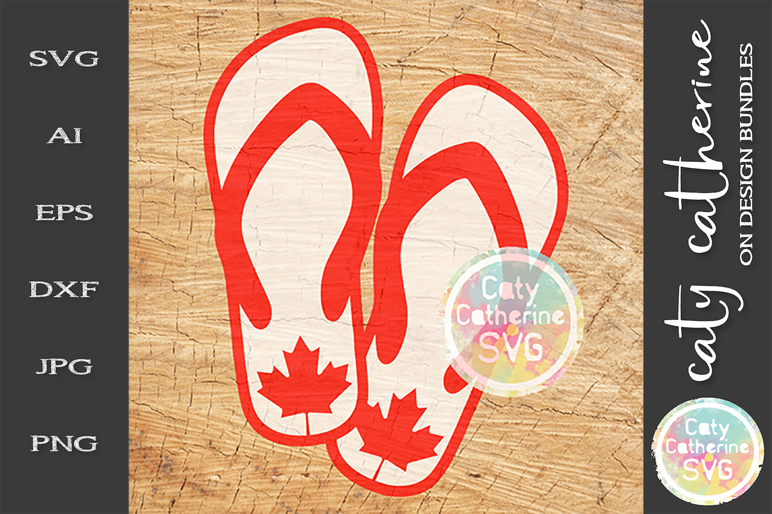 Canadian Maple Leaf Flip Flops Canada Day SVG Cut File example image 1