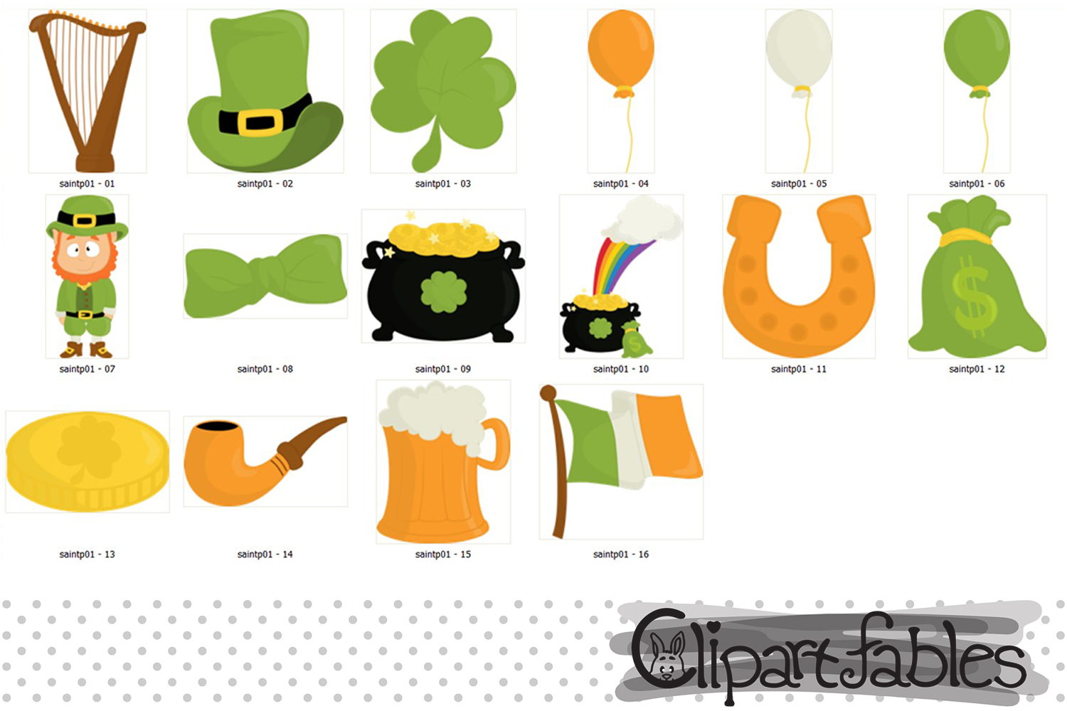 St. Patrick's Day Clipart, Leprechaun and Shamrock design example image 2