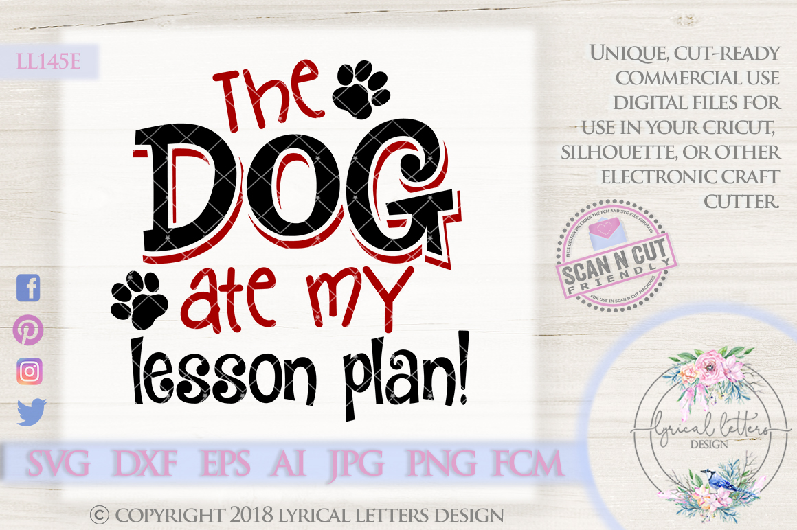 The Dog Ate My Lesson Plan SVG Cut File LL145E example image 1