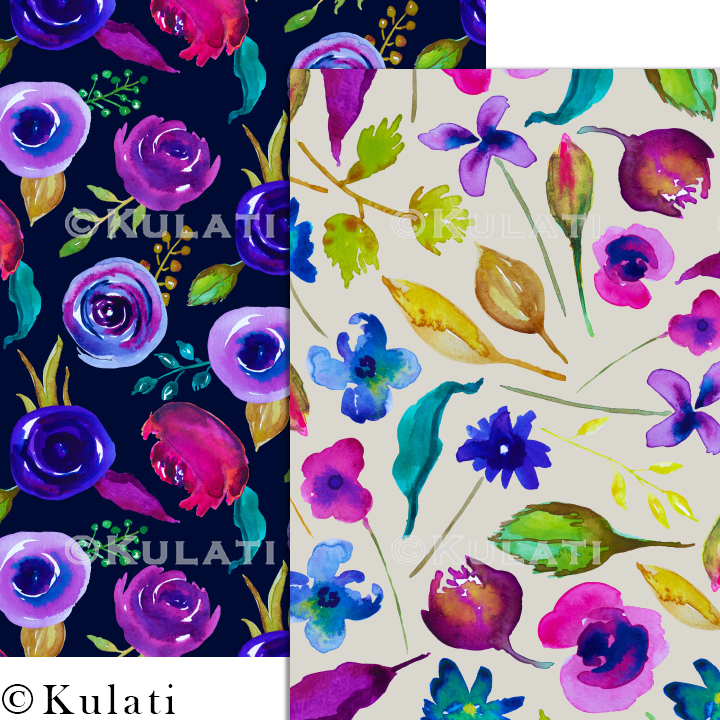 Watercolor Floral Seamless Patterns example image 7