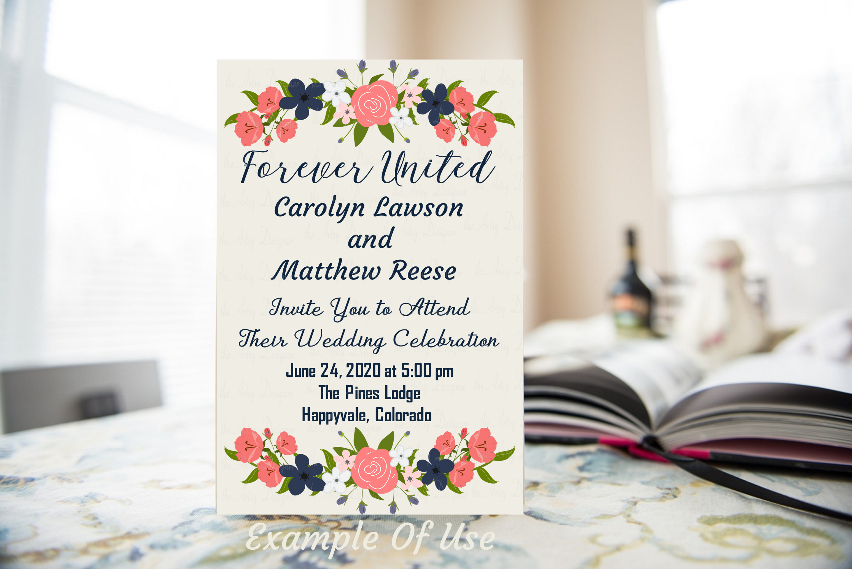 Navy Blue Coral Flowers Sublimation Clipart Bundle Wedding example image 6