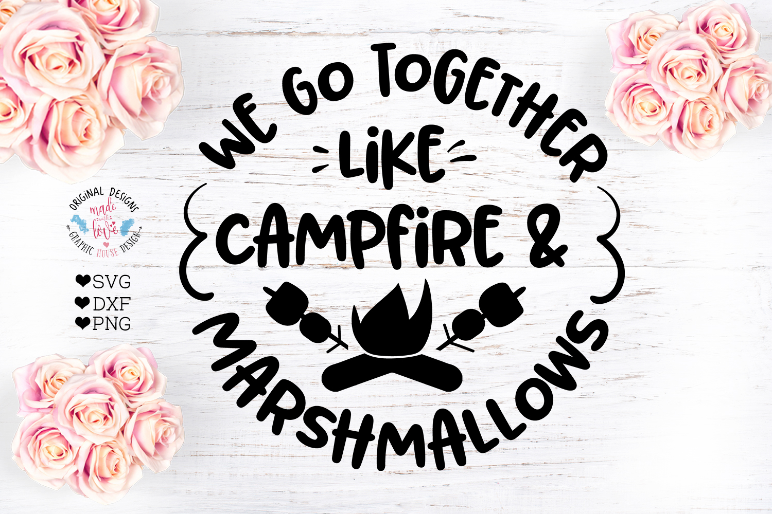 Campfire and Marshmallows Cut File example image 1