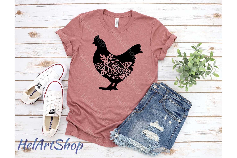 Floral Chicken svg, Farm svg, Farm animals svg example image 2